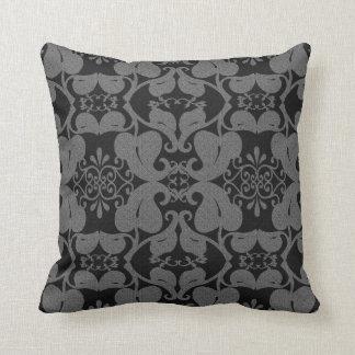 Black And Grey Modern Elegant Leaf Pattern Throw Pillow