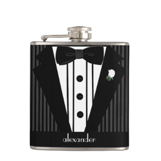 Black and Grey Pin Stripe Tuxedo-Wedding Hip Flask