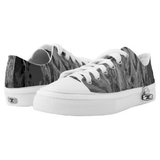 Black and Grey Poured Paint Low-Top Sneakers