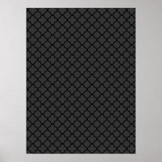 Black and Grey Quatrefoil Pattern Poster
