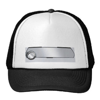 Black and Grey Rearview Mirror on Grey Trucker Hat