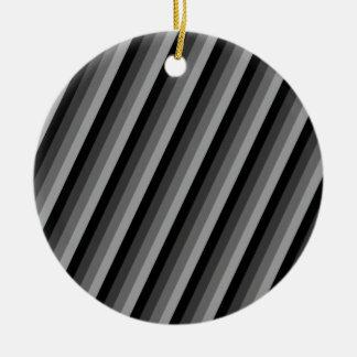 Black and Grey Striped Round Ceramic Ornament