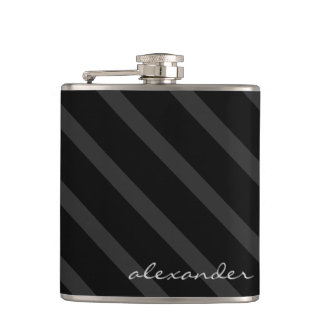 Black and Grey Stripes-Groomsmen Hip Flask