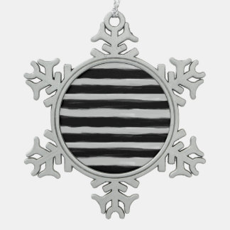 Black and Grey Stripes Pewter Snowflake Ornament