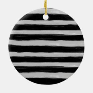 Black and Grey Stripes Round Ceramic Ornament