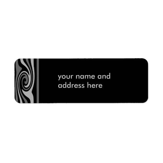 Black and grey swirls return address labels