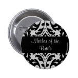 Black and grey victorian damask mother of bride buttons