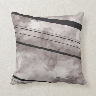 Black and Grey Watercolor Stripe Pillow