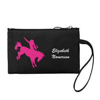 Black and Hot Pink Country Cowgirl Horse Riding Change Purse