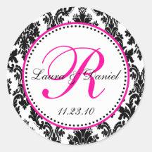 Black and Hot Pink Damask Monogram Sticker