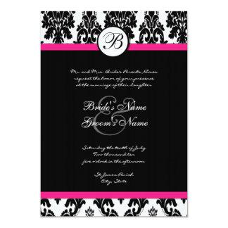 Black and Hot Pink Damask Wedding Invitation
