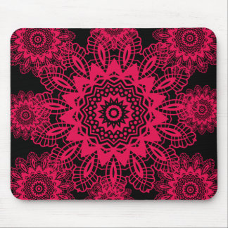 Black and Hot Pink Fuchsia Lace Snowflake Design Mouse Pad