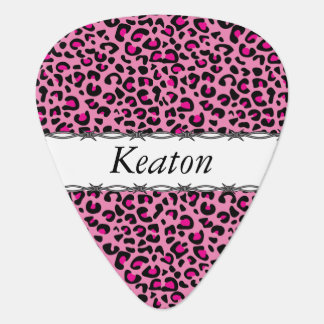 Black and Hot Pink Leopard Print | Personalize Guitar Pick