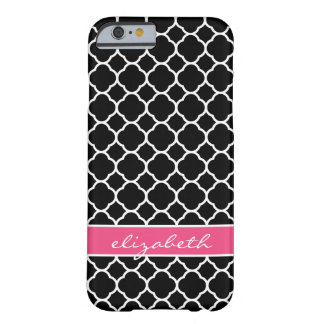 Black and Hot Pink Modern Quatrefoil Monogram Barely There iPhone 6 Case
