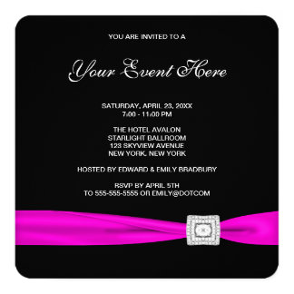 Black and Hot Pink Party Card