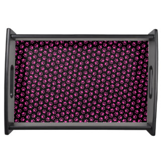 Black and hot pink paw print animal track pattern service tray