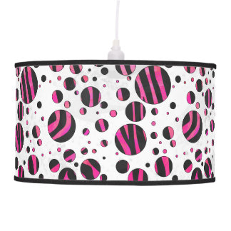 Black and Hot Pink Piloka Dot Zebra Pendant Lamp