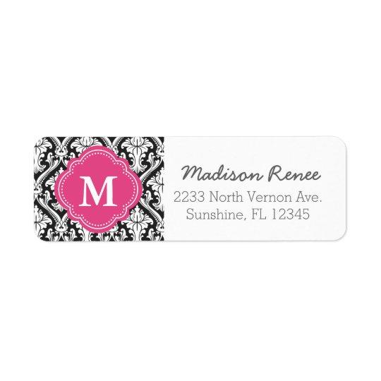 Black and Hot Pink Trendy Damask Custom Monogram Return Address Label