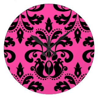 Black and hot pink vintage victorian damask large clock