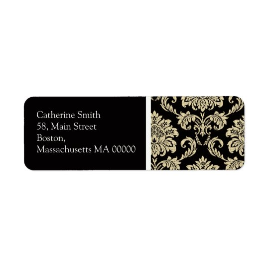 Black and Ivory Damask Address Labels