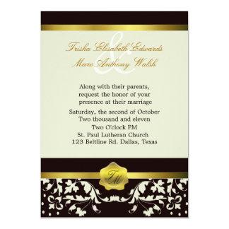 Black and Ivory Monogram Wedding Invitation