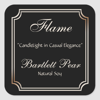 Black and Ivory Scallop Frame Candle Label