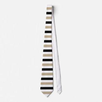 Black and Khaki Stripes Pattern Modern White Tie