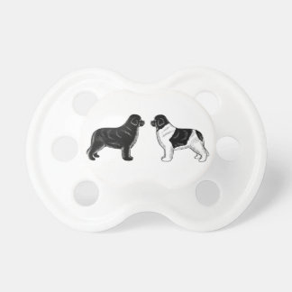Black and Landseer Newfoundland Dogs Pacifier