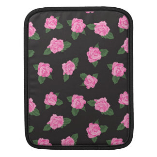 Black and large pink rose iPad / iPad 2 sleeve