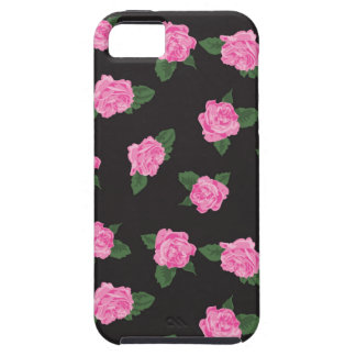 Black and large pink rose iPhone 5 case skin