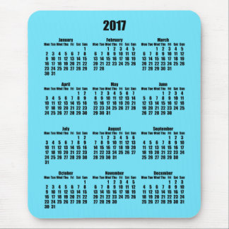 Black and Light Azure 2017 Calendar Mouse Pad