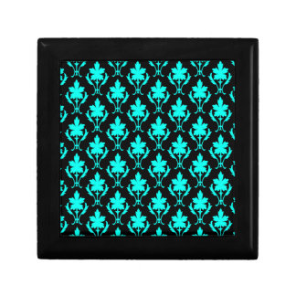 Black And Light Blue Ornate Wallpaper Pattern Jewelry Boxes