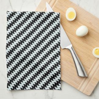 Black and Light Blue Waves Pattern Kitchen Towel