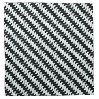Black and Light Blue Waves Pattern Napkin
