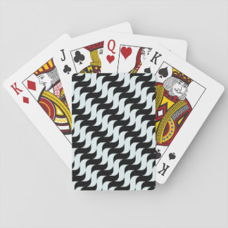 Black and Light Blue Waves Pattern Playing Cards