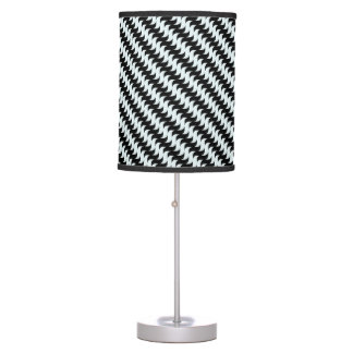 Black and Light Blue Waves Pattern Table Lamp