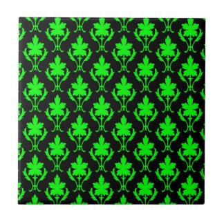 Black And Light Green Ornate Wallpaper Pattern Ceramic Tiles