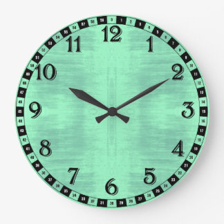 Black And Light Green Textured Pattern Large Clock