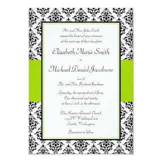 Black and Lime Green Damask Wedding Invitation