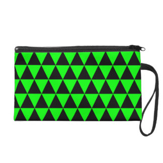 Black and Lime Green Geometric Triangles Wristlet