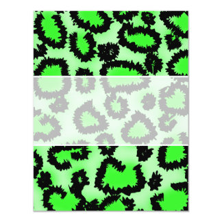 Black and Lime Green Leopard Print Pattern. Personalized Invitations