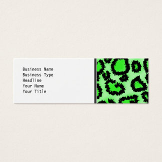 Black and Lime Green Leopard Print Pattern. Mini Business Card