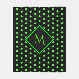 Black and Lime Green Polka dots Pattern Monogram Fleece Blanket