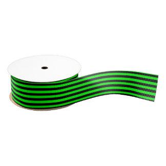 Black and Lime Green Stripe Grosgrain Ribbon