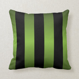 Black and Lime Green Stripes Throw Pillow