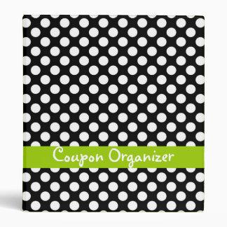 Black and Lime Polka Dot Coupon Organizer Binders