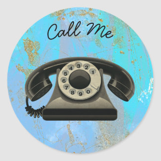 Black and Low Euro Phone Call Me Classic Round Sticker