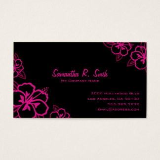 Black and Magenta Hibiscus Business Card