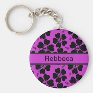 Black and magenta personalized  hibiscus print keychain