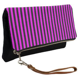 Black and Magenta Pink Stripe Clutch
